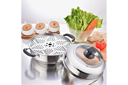 E-city K002 28cm Quality Stainless Steel Multipurpose Cooking Pot