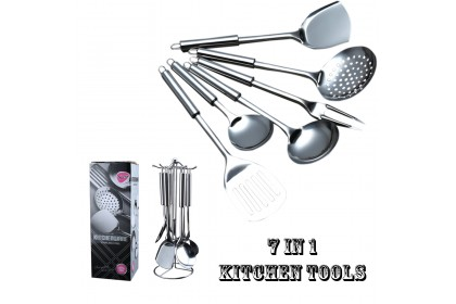 7 in 1 Stainless Steel Kitchen Tools Cooking Utensils with Rack